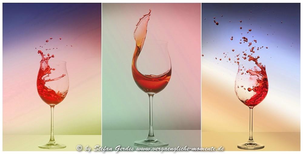 Collage 'Spritzer im Weinglas'